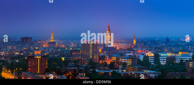 Groningen town during blue hour, after sunset on a summer evening with the view to downtown taken from the Tasman - Stock Image