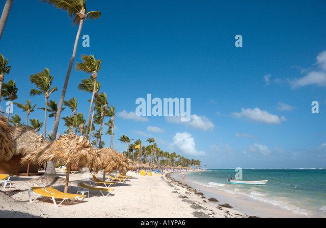 Bavaro Beach outside Natura Park Hotel, Bavaro, Punta Cana, Dominican Republic - Stock Image