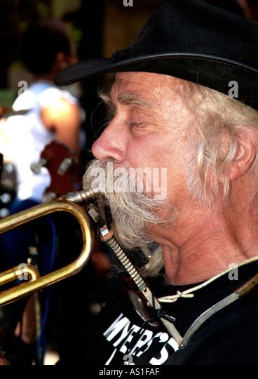 Street musician marketplace Portland Oregon - Stock-Bilder