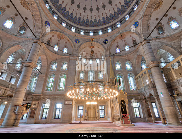 Interior low angle shot of Eyup Sultan Mosque situated in the Eyup district of Istanbul, Turkey, outside the city - Stock Image