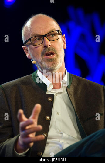 Peter Wohlleben German forester and author speaking on stage at Hay Festival 2017 Hay-on-Wye Powys Wales UK - Stock Image