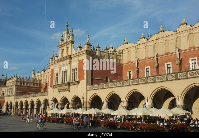 Exterior of the Cloth Hall (Sukiennice) in Main Market Square (Rynek Główny) of the Old Town in Krakow, Poland, - Stock Image