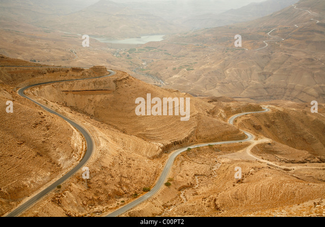 Part of the Kings Highway that runs through Wadi Mujib escarpment, Jordan. - Stock Image