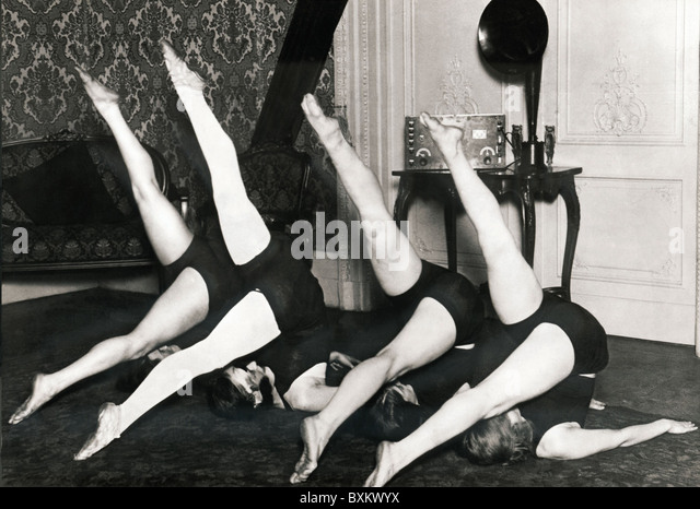 broadcast, radio, woman, practise gymnastics to music from radio, Germany, circa 1926, 1920s, 20s, 20th century, - Stock Image
