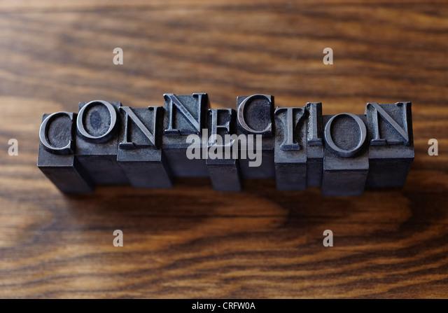 Lead type spelling 'connection' - Stock-Bilder