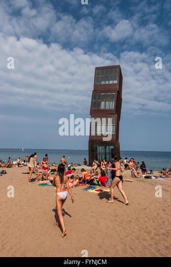 Rebecca Horn sculpture  'L'estel ferit' ( The wounded star ) on La Barceloneta beach, Barcelona, Spain, - Stock Image