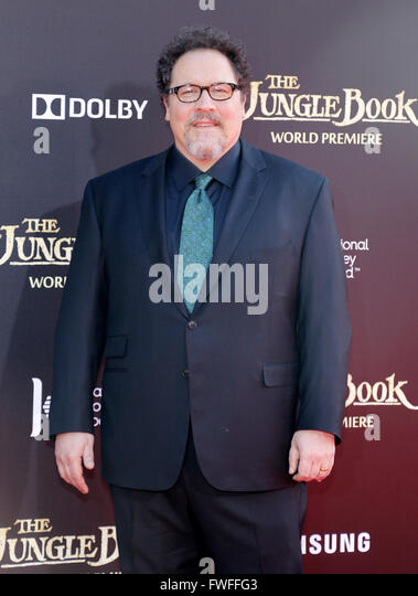 Los Angeles, California, USA. 4th April, 2016. Jon Favreau at the World premiere of 'The Jungle Book' held - Stock Image