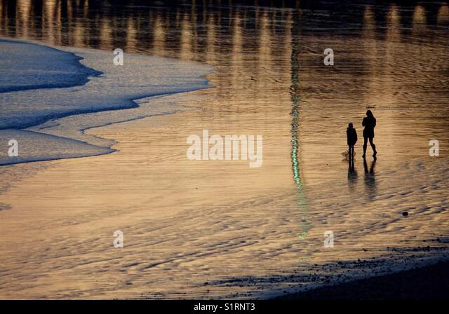 Sunset Light at Newhaven East Beach - Stock Image