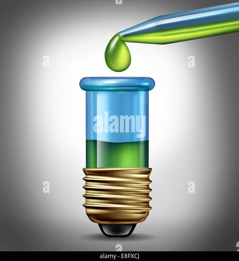 Scientific research Ideas as a biotechnology concept with a laboratory an eye dropper with green liquid and a test - Stock Image