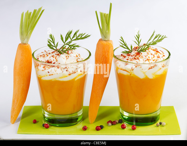 Carrot cappuccinos - Stock Image