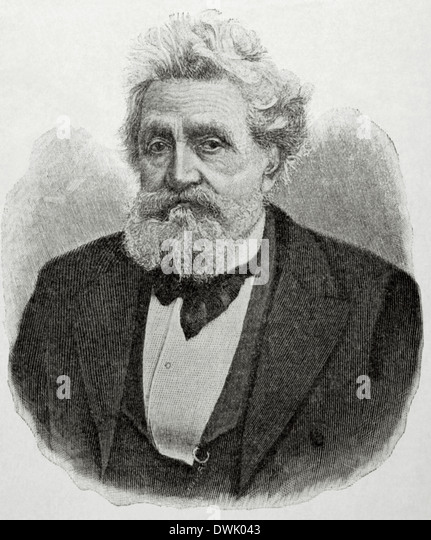 Hermann Lingg (1820 – 1905). German poet who also wrote plays and short stories. Engraving by La Ilustracion Artistica, - Stock Image
