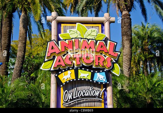 Animal Actors attraction sign Universal Studios Orlando Florida - Stock Image