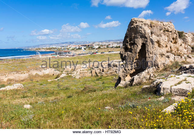 Stone Pit of Ruined Roman Town at Paphos Archaeological Parkview to the beach, UNESCO World Heritage Site, Paphos, - Stock Image