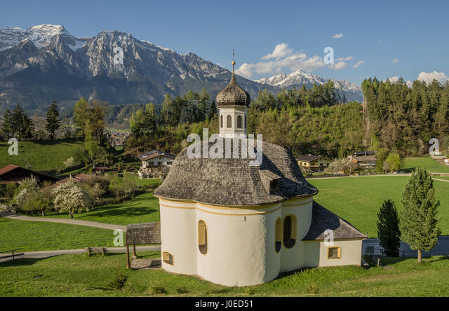 This church high up in the Inn valley is named after St. Francis Borgia, the great-grandson of pope Alexander VI. - Stock Image