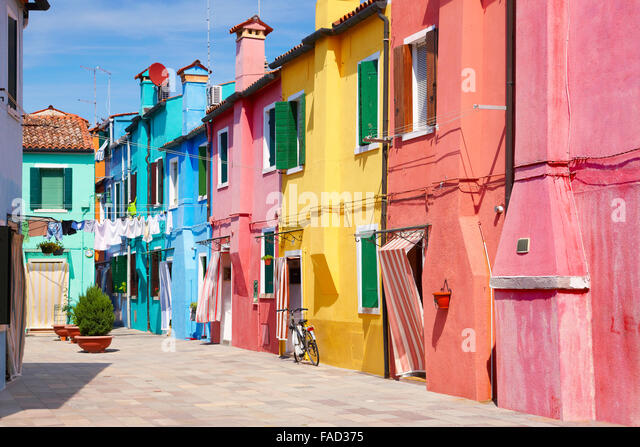 Characteristic colourful houses in village of Burano near Venice in Italy (Burano Lagoon Island), UNESCO - Stock-Bilder