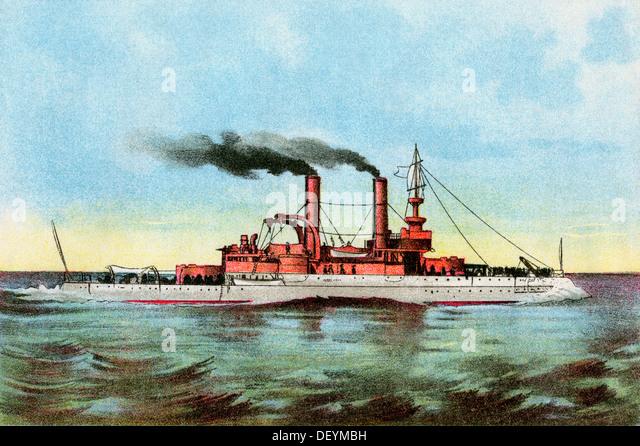 U.S. battleship 'Iowa' circa 1900. - Stock Image