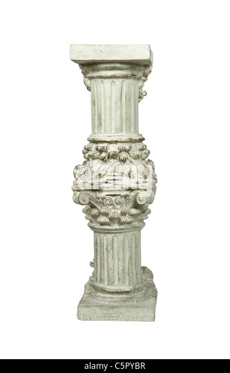 Intricate stone formal pedestal for raising up an item of importance - path included - Stock Image