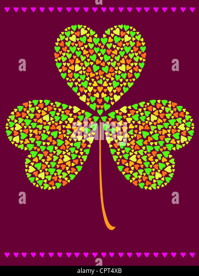 A three leaf clover made of smaller hearts - Stock-Bilder