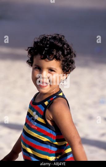 Los Roques Archipelago Venezuela Gran Roque smiling child - Stock Image