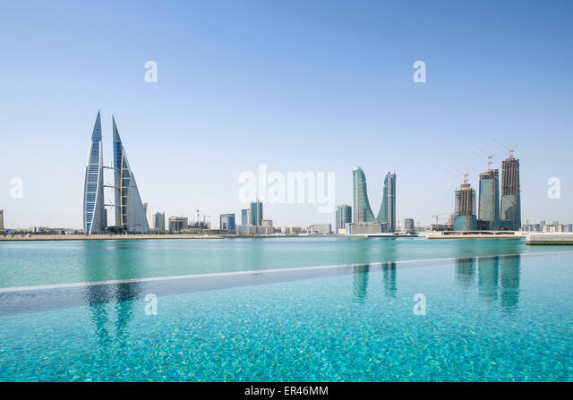 Skyline of Manama city in Bahrain from new Four Seasons luxury Hotel - Stock Image