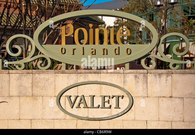 Orlando Florida,Pointe Orlando valet parking sign on International Drive I-Drive, - Stock Image