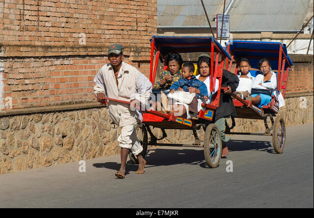 Two rickshaws in Madagascar - Stock Image