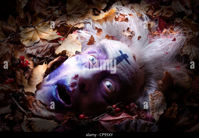 Buried or dead mans head in leaf litter zombie old cross old bodiless - Stock Image