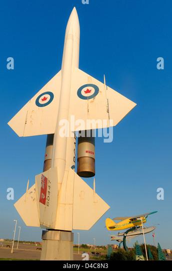 Jet and float plane outside Alberta Aviation Museum, Edmonton, Alberta, Canada - Stock Image