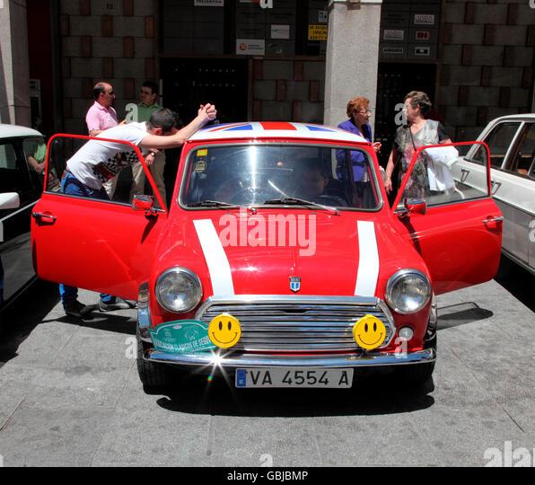 Classic British Mini on show in Segovia - Stock Image