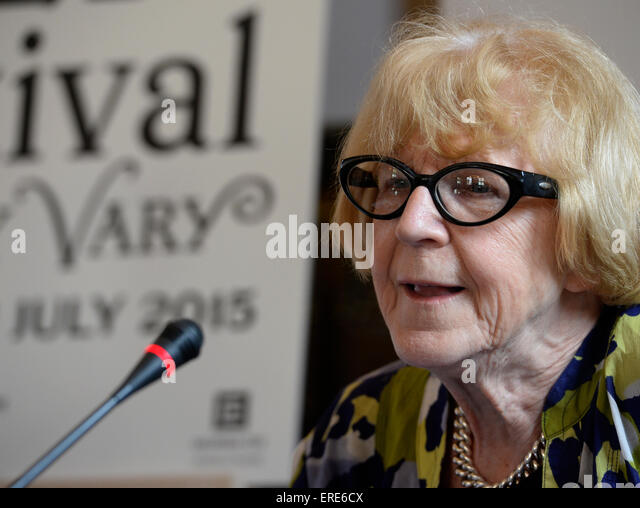 Prague, Czech Republic. 2nd June, 2015. Czech film critic Eva Zaoralova attends a news conference for the Karlovy - Stock-Bilder