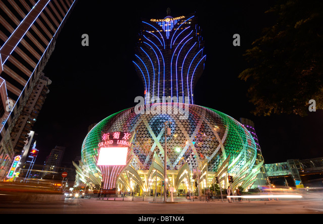 The 'Grand Lisboa' casino in Macau. - Stock Image