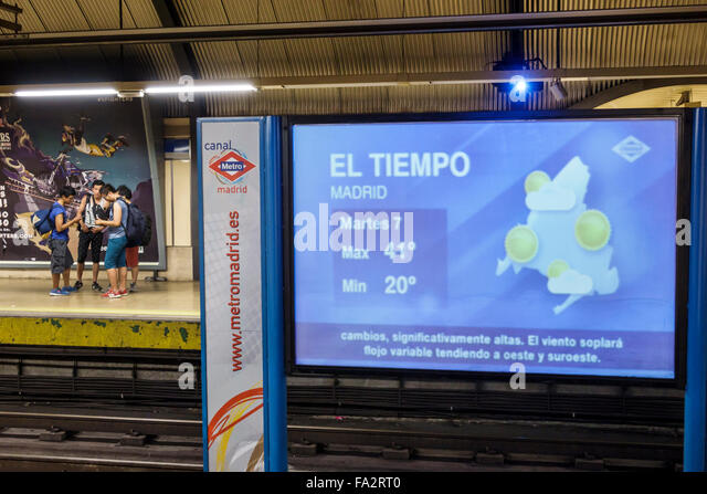Spain Europe Spanish Hispanic Madrid Moncloa-Aravaca Arguelles Metro Station subway public transportation weather - Stock Image