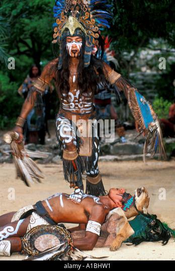 Mexico xcaret theme park Maya dancers - Stock Image