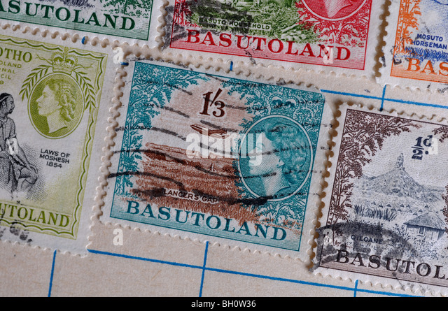 Basutoland postage stamps in stamp album - Stock Image