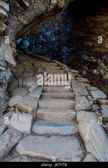 Stairs Through Arch Rock on trail to Alum Cave - Stock Image