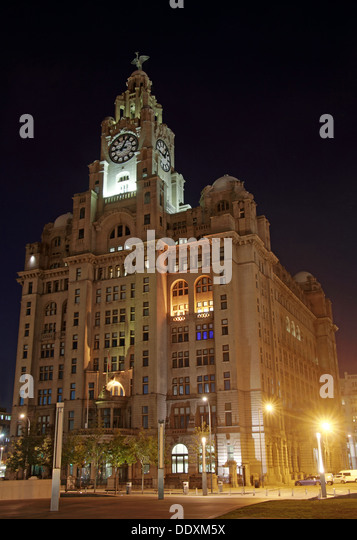 Pier Head Liver Building at Nighttime liverpool Merseyside England UK - Stock Image