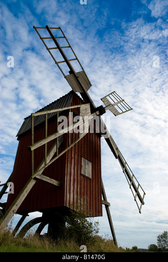 Swedish Windmill One of the 400 year old windmills in 'windmill row' at Störlange Kvarns Oland Sweden - Stock Image