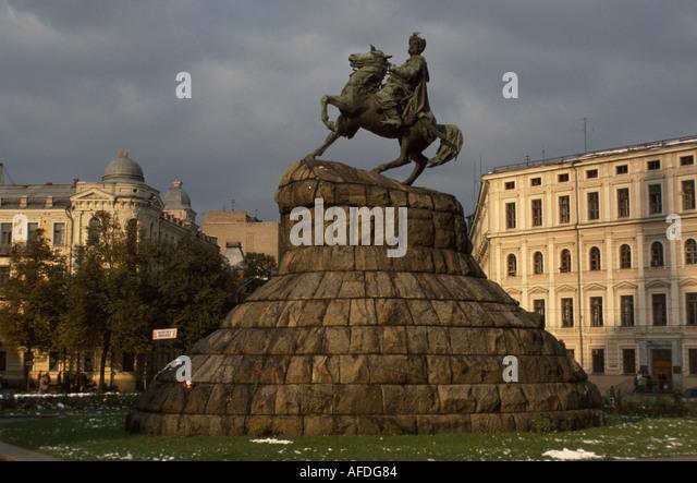 Ukraine Kiev Bogdan Kmealnitchsky statue historic leader - Stock Image