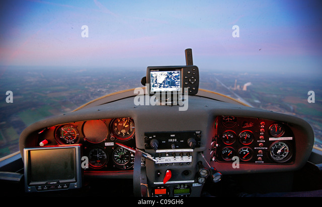 Cockpit of a Dimona H36, motor glider, light aircraft, general aviation, private pilots license, over the Ruhrgebiet - Stock Image