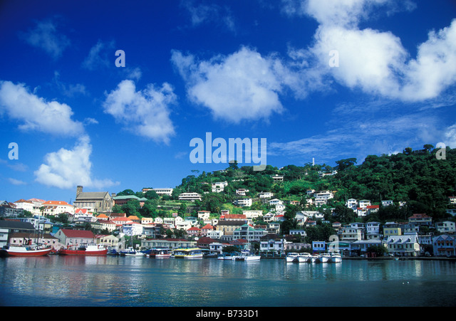 The capital of Grenada St Georges - Stock Image