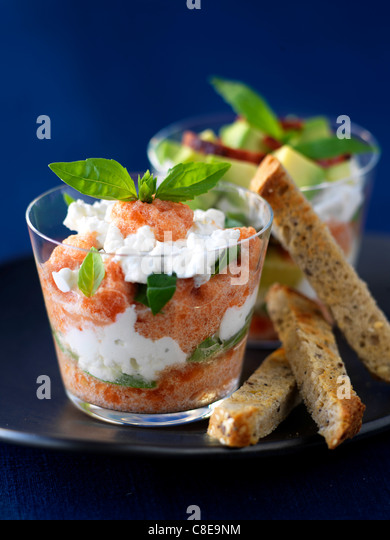 Salmon,cheese and basil Verrine - Stock Image