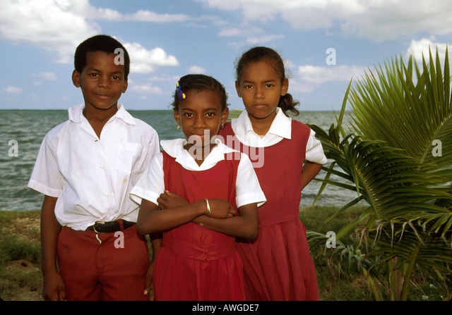 Belize Central America Belize City Central Christian School students uniforms class trip - Stock Image