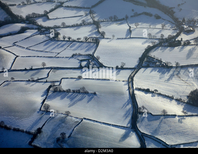 Frozen snow covered Britain, winter 2013, West Shropshire, UK - Stock Image