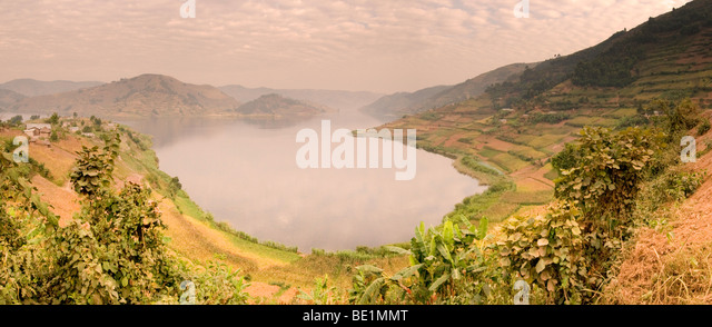 Panoramic view of Lake Bunyonyi in Uganda - Stock Image