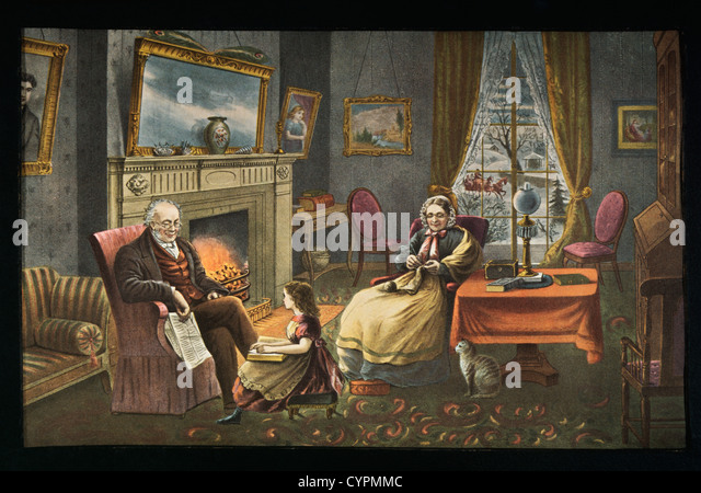 Four Seasons of Life: Old Age, Currier & Ives, Lithograph, 1868 - Stock Image