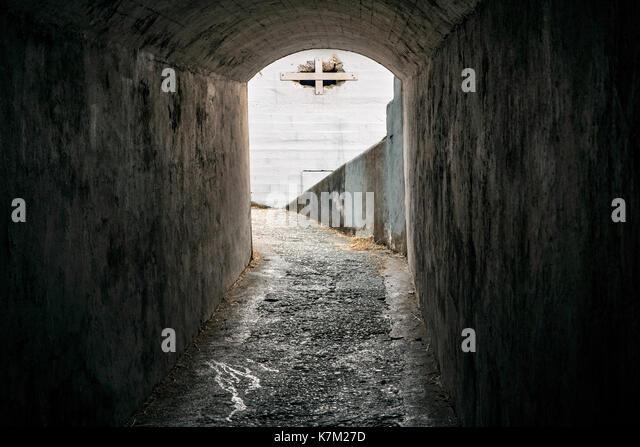 Tunnel in Fort Macaulay - Macaulay Point Park, Esquimalt, Victoria, Vancouver Island, British Columbia, Canada - Stock Image