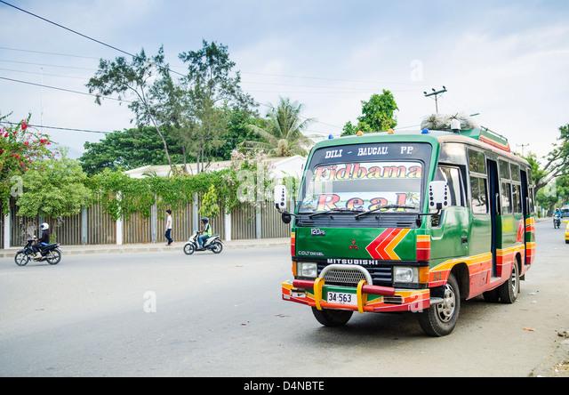 microlet minivan bus in dili east timor - Stock Image