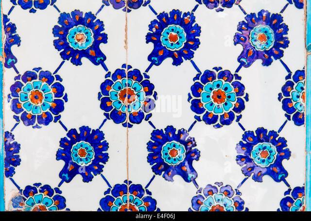 Turkish Blue Tile in Rustem Pasha Mosque - Stock Image
