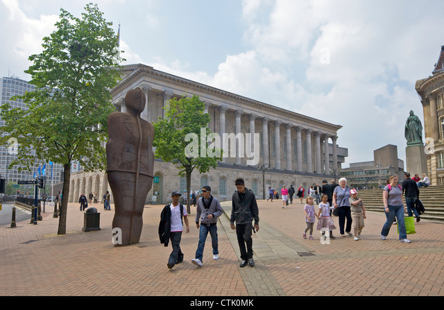 Iron: Man (1993) or The Iron Man statue by Antony Gormley in Victoria Square, Birmingham city centre, West Midlands, - Stock Image