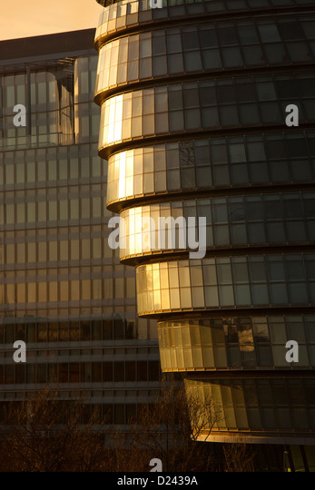 Close-up detail of City Hall GLA building at sunset , London, England - Stock Image